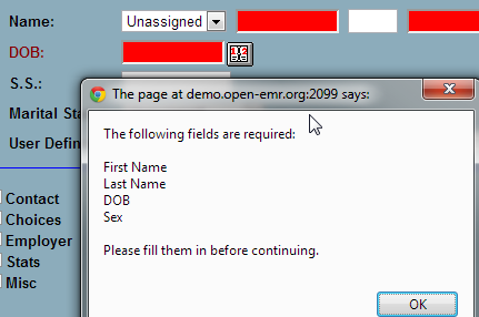 error message for missing data elements at OpenEMR data entry