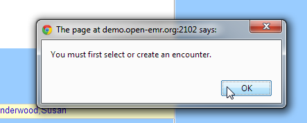 "error messages when mistakenly clicked ""visit forms"" in OpenEMR"