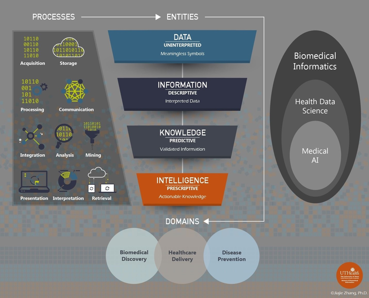 Figure depicting the relationship between biomedical informatics, health data science, and medical AI